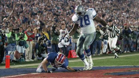 <strong>Longest fumble return in a Super Bowl:</strong> Almost everything came up roses for the Dallas Cowboys in 1993, as they crushed Buffalo 52-17 in the Rose Bowl. But defensive lineman Leon Lett had an embarrassing moment late in the game when he was returning a fumble for what looked to be a sure touchdown. Lett returned the ball 64 yards, but he started showboating early and was stripped by Buffalo's Don Beebe.