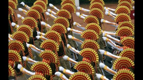 Indian soldiers march in formation down Rajpath Boulevard during the Republic Day parade on January 26.