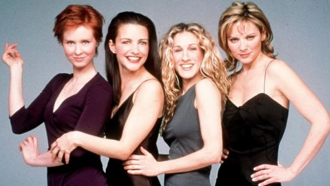 """Believe it or not, """"Sex and the City"""" debuted in 1998. The cast pictured from left is Cynthia Nixon as Miranda Hobbes, Kristin Davis as Charlotte York, Sarah Jessica Parker as Carrie Bradshaw, and Kim Cattrall as Samantha Jones. Don't look for a reboot with the original cast, as <a href=""""https://www.cnn.com/2018/02/12/entertainment/kim-cattrall-sarah-jessica-parker/index.html"""" target=""""_blank"""">Parker and Cattrall famously do not get along. </a>"""