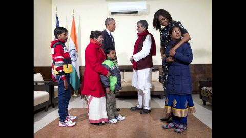 The Obamas meet with Kailash Satyarthi, third from right, and his family in New Delhi on January 27. Satyarthi, a children's rights advocate, shared the 2014 Nobel Peace Prize with Malala Yousafzai.