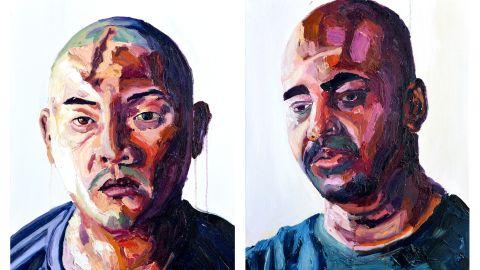 Portraits of Andrew Chan and Myuran Sukumaran, as painted by Sukumaran.