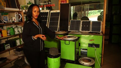 """Inspired by the desire to use energy more efficiently and to help save the environment, Rose Twine, pictured, conceived the """"eco stove"""" with her brother in 2009. The Kampala-based startup hopes to offer a more eco-friendly cooking solution to homeowners, who frequently suffer from respiratory issues as a result of using wood and charcoal for cooking indoors."""