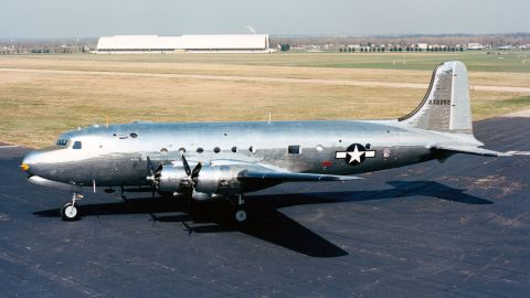 """The Douglas VC-54C, nicknamed """"Sacred Cow,"""" is on display at the National Museum of the United States Air Force, near Dayton, Ohio. Sacred Cow served as President Franklin Roosevelt's official transportation to the Yalta Conference in February 1945."""