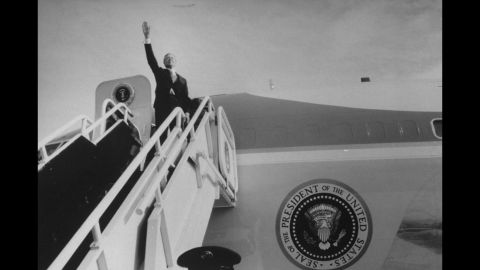 President Jimmy Carter waves goodbye as he boards a presidential aircraft on his final day in office in 1981.