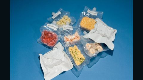 Freeze-dried meals ready for take off. The process locks in all of the flavor and nutrients whilst preventing the food from biodegrading.