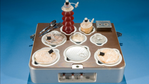 The food and drink served aboard Skylab (1973-1979). Because Skylab had freezers, it was the closest experience yet to eating at home. Meals were defrosted and reheated, with the three astronauts supplied for 131 days at a time.