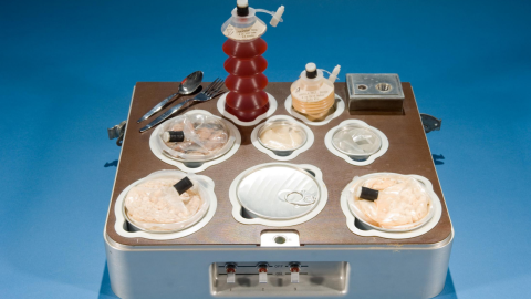 The food and drink served aboard Skylab (1973-1979). Because Skylab had freezers, it was the closest experience yet to eating at home. Meals were defrosted and reheated, with the three astronauts supplied for 112 days at a time.