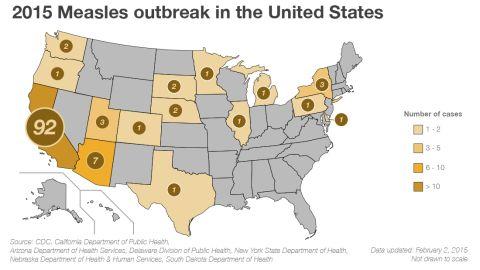Map: Measles outbreak in North America