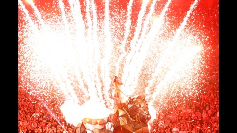 Pyrotechnics fire during Perry's opening song.