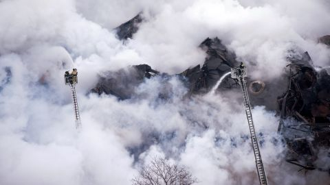 The fire caused part of the roof to collapse at one of Russia's largest public libraries.
