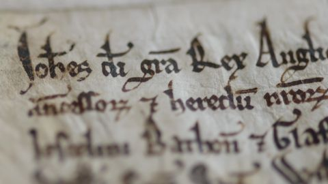 Each of the four Magna Carta copies was written on sheepskin parchment, using ink made of crushed oak apple galls. The skilled Medieval scribes who produced the documents used quills crafted from goose or swan feathers.