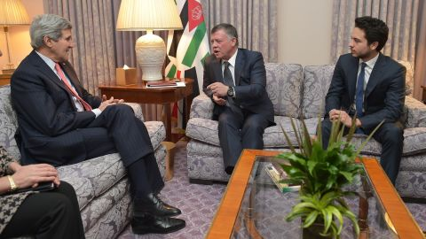 """U.S. Secretary of State John Kerry, left, meets with Jordan's King Abdullah II, center, and Crown Prince Hussein on February 3 in Washington. Kerry described al-Kasasbeh as everything he says ISIS is not: """"He was brave, compassionate and principled. That he was murdered after his father's plea for compassion reminds all the world that this foe has no agenda other than to kill and destroy and places no value on life, including that of fellow Muslims."""""""