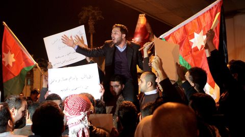 Jordanians gather in Amman on Tuesday, February 3, after reports that al-Kasasbeh had been killed.