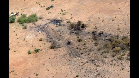 """The crash site of Air Algerie Flight AH 5017 in Mali is visible from above on July 26, 2014. <a href=""""http://www.cnn.com/2014/07/25/world/africa/air-algerie-crash/"""">After the crash, French President François Hollande</a> said the jet was found in a """"disintegrated state."""" He said there were no survivors."""