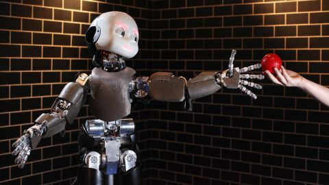 This baby robot is called iCub, and it was developed by the Italian Institute of Technology. It can learn like a three-year-old and interpret human speech.