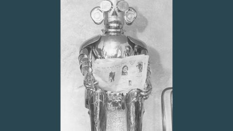 """This """"mechanical man"""" was called Alpha and it was built in 1932. He could talk, sing, whistle (for half an hour), laugh, carry on a conversation, tell the time and date, fire a revolver and read the small print of a newspaper."""