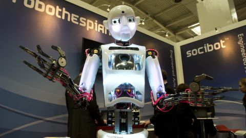 """Robothespian, a humanoid robot designed in the U.K., is an attempt at recreating the capabilities of a human being in a creative field. It has performed on stage several times as a """"mechanical actor""""."""
