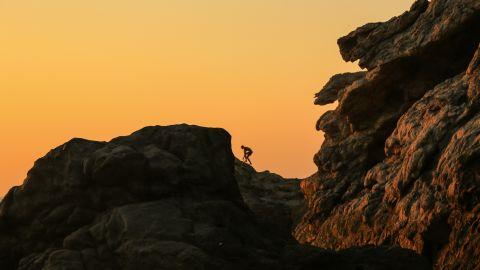 A climber navigates the rocky ridges above Artemis' Cove.
