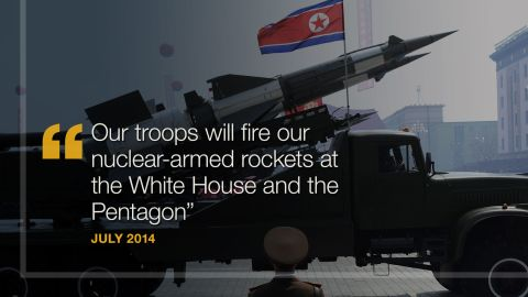 """<strong>July 2014:</strong> North Korea threatens to hit the White House and Pentagon with nuclear weapons. American """"imperialists threaten our sovereignty and survival,"""" North Korean officials reportedly said after the country accused the U.S. of increasing hostilities on the border with South Korea. """"Our troops will fire our nuclear-armed rockets at the White House and the Pentagon -- the sources of all evil,"""" North Korean Gen. Hwang Pyong-So said, <a href=""""http://www.telegraph.co.uk/news/worldnews/asia/northkorea/10997161/North-Korea-threatens-nuclear-strike-on-White-House.html"""" target=""""_blank"""" target=""""_blank"""">according to The Telegraph.</a>"""