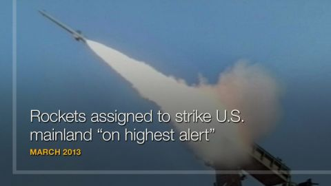 """<strong>March 2013:</strong> Angered by tougher U.N. sanctions and joint military exercises by the United States and South Korea, the <a href=""""http://www.cnn.com/2013/03/26/world/asia/north-korea-us-threats/"""" target=""""_blank"""">Supreme Command of North Korea's military vowed</a> to put """"on highest alert"""" the country's """"rocket units"""" that are assigned to strike """"U.S. imperialist aggressor troops in the U.S. mainland and on Hawaii and Guam and other operational zone in the Pacific."""" Whether Pyongyang has the will to back up such doomsday talk is a perplexing question, <a href=""""http://www.cnn.com/2014/11/19/world/asia/un-north-korea/index.html"""">but there is evidence that its know-how</a> -- in terms of uranium enrichment, nuclear testing and missile technology -- is progressing."""
