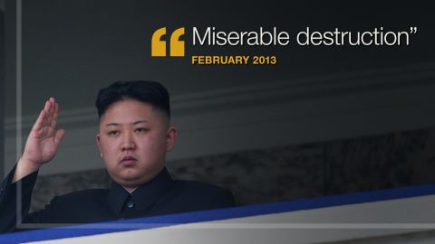 """<strong>February 2013:</strong> In a message to the United States and South Korea, <a href=""""http://www.cnn.com/2013/02/23/world/asia/koreas-tension/"""" target=""""_blank"""">North Korea vowed</a> """"miserable destruction"""" if """"your side ignites a war of aggression by staging reckless joint military exercises."""""""