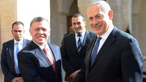 Prime Minister Benjamin Netanyahu meets Jordan's King Abdullah II , during a visit to Amman on Jan 16, 2014 in Amman, Jordan.
