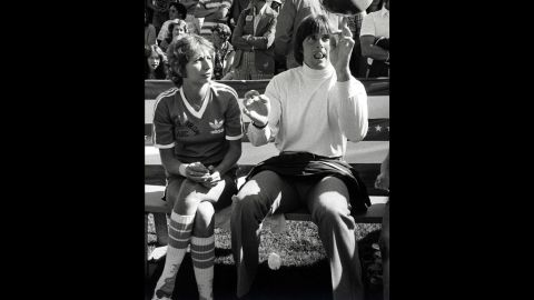 """Jenner quickly found work in television. Here, Penny Marshall and Jenner take part in a taping of the """"Battle of the Network Stars"""" TV show on February 5, 1977."""