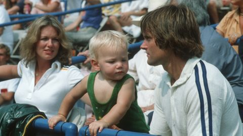 Jenner attends a celebrity tennis tournament in 1979 with Chrystie Scott and their son Casey. Scott and Jenner were married from 1972 to 1981.