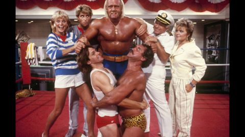 """Jenner, lower left, appears in a 1986 episode of """"Love Boat"""" featuring Hulk Hogan and Tim Rossovich."""