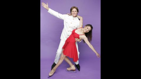 """Jenner and Tai Babilonia are seen in a publicity photo for """"Skating With Celebrities"""" in 2006."""