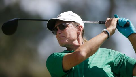 Jenner hits a tee shot at a celebrity golf tournament in North Las Vegas, Nevada, in 2014.