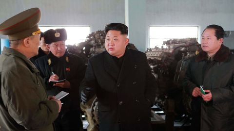 This undated picture from North Korea's state media on February 8, 2015 shows North Korean leader Kim Jong Un  inspecting the October 3 Dockyard under Korean People's Army Navy Unit 597 at undisclosed place in North Korea.