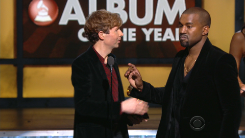 """<strong>February 2015:</strong> In 2009, West interrupted Taylor Swift's speech at the MTV Video Music Awards to say that her video didn't deserve an award. When he approached the stage at the Grammys in February to interrupt Album of the Year winner Beck, it seemed like a joke -- but no, Kanye wasn't joking. <a href=""""http://www.cnn.com/2015/02/27/entertainment/kanye-west-apology/"""">He later apologized</a>."""