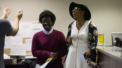"""Shante Wolfe, left, and Tori Sisson become the first same-sex couple to file their marriage license in Montgomery, Alabama, on February 9, 2015. However, seven months after the U.S. Supreme Court ruling legalizing such nuptials nationwide, Alabama <a href=""""http://www.cnn.com/2016/01/06/politics/roy-moore-alabama-supreme-court/"""" target=""""_blank"""">Chief Justice Roy Moore</a> directed probate judges in his state to enforce the ban on same-sex marriage. Gay rights organizations swiftly denounced Moore's January 6, 2016, order."""