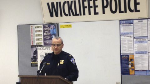 Wickliffe Police Chief Randy Ice speaks at a news conference, Monday, Feb. 9, 2015 in Wickliffe, Ohio. An 11-year-old girl from a Cleveland suburb has been charged with murder in the beating of a 2-month-old who was staying overnight with the girl and her mother to give the baby's mom a break. Ice said that the 11-year-old, her mother and the baby girl, Zuri Whitehead of Cleveland, were on a couch downstairs when the mother fell asleep at about 3 a.m. Friday. The mother was awakened less than an hour later by her daughter, who was holding the badly injured infant. Ice said the 11-year-old took the infant upstairs. When she returned downstairs, the infant was bleeding and her head was badly swollen, he said. (AP Photo/Northeast Ohio Media Group, Ryllie Danylko) NO SALES, MANDATORY CREDIT