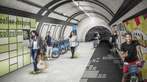 """The London Underline concept seeks to transform the city's disused metro tunnels into a network of underground pathways for pedestrians and cyclists. London has 250 miles (400km) of metro tunnels and 18 """"ghost"""" tube stations which are not used."""