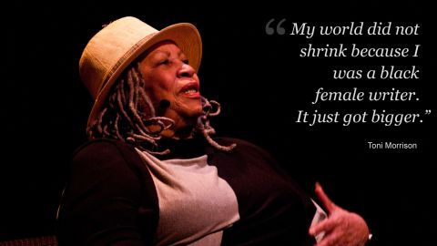 """<a href=""""http://edition.cnn.com/2013/04/14/us/toni-morrison-fast-facts/"""" target=""""_blank"""">Toni Morrison</a>; the writer, editor and professor, has always moved people with her words, whether she's making a speech or writing a novel. <br /><br />To celebrate her wit and wisdom,  <a href=""""http://edition.cnn.com/specials/business/leading-women"""" target=""""_blank"""">Leading Women</a> have collated some of her most powerful quotes on topics from love to literature.<br /><br />By Phoebe Parke, for CNN."""