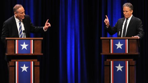 """In 2012, Stewart and Fox News' Bill O'Reilly """"competed"""" in a mock debate called the """"Rumble in the Air-conditioned Auditorium."""" Their jousting topics ranged from health care to entitlement spending, from Christmas to government counting of calories."""
