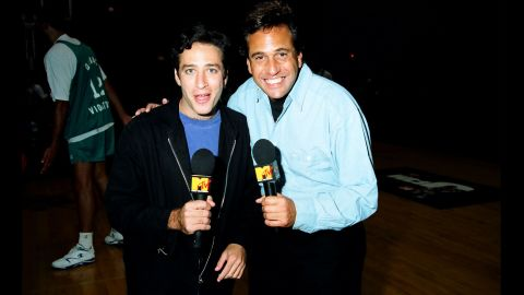 """Stewart soon caught the attention of MTV executives. In 1993, he <a href=""""http://www.imdb.com/title/tt0423369/"""" target=""""_blank"""" target=""""_blank"""">co-hosted</a> the network's Third Annual Rock N' Jock B-Ball Jam."""