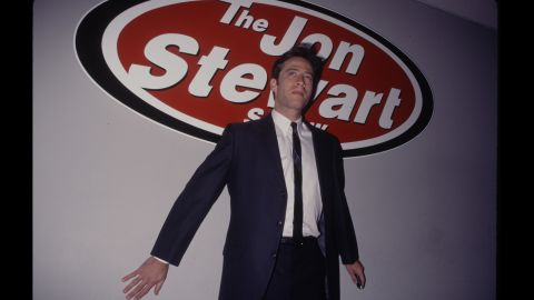 """As a precursor to his Comedy Central gig, Stewart got familiar interviewing celebrities on """"The Jon Stewart Show,"""" a <a href=""""http://www.cc.com/comedians/jon-stewart"""" target=""""_blank"""" target=""""_blank"""">short-lived program</a> he hosted on MTV in the '90s."""