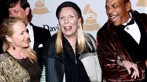 """Canadian singer-songwriter Joni Mitchell, center, told <a href=""""http://nymag.com/thecut/2015/02/joni-mitchell-fashion-muse.html#Q5UmAd:KKz"""" target=""""_blank"""" target=""""_blank"""">New York magazine</a> in 2015 that she's appeared as a black man on one of her album covers. """"I really feel an affinity because I have experienced being a black guy on several occasions."""""""