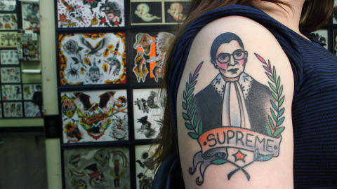 A tattoo of Supreme Court Justice Ruth Bader Ginsburg on the arm of college student Rachel Fink.