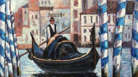 This wonderful painting may be a popular Valentine's Day choice because so many lovers holiday in Venice.