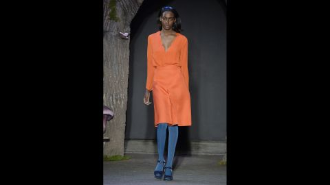 A model displays one of fall's richest hues at the Honor fashion show.