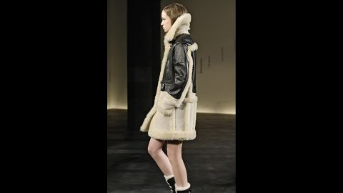 Coach favored shearling coats and moto boots for fall.