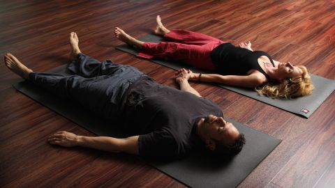 """""""Savasana"""" means corpse pose in Sanskrit and is the standard final relaxation position in most yoga practices."""