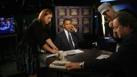 """Obama appears on """"Meet the Press"""" with Tim Russert, right, in Des Moines, Iowa, in November 2007."""