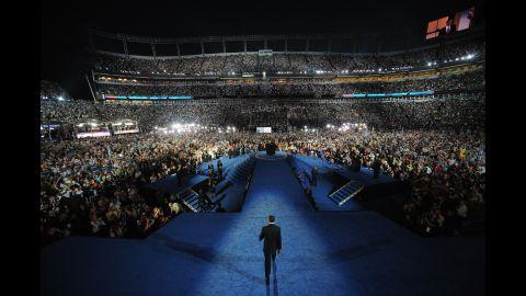 Obama speaks at the 2008 Democratic National Convention in Denver.