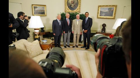 """Obama hosts the Apollo 11 astronauts -- from left, Edwin """"Buzz"""" Aldrin, Michael Collins and Neil Armstrong -- in the Oval Office on July 20, 2009. It was the 40th anniversary of the moon landing."""