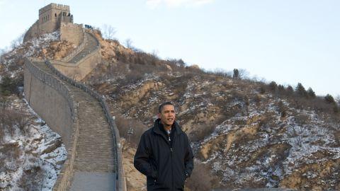 Obama walks along the Great Wall of China in November 2009.